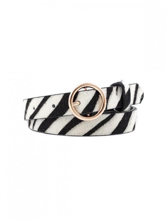 Cinturon de Piel de Hebilla Redonda con Estampado de Cebra - Negro Azabache