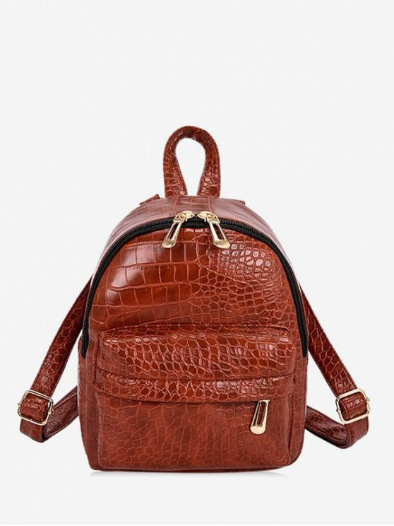 best Snakeskin Mini Embossed Backpack - BROWN