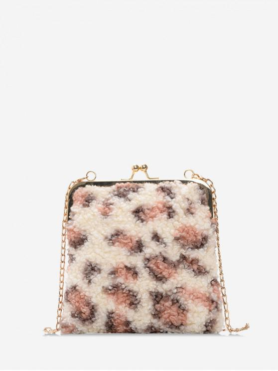 fashion Suede Leopard Chain Shoulder Bag - PINK