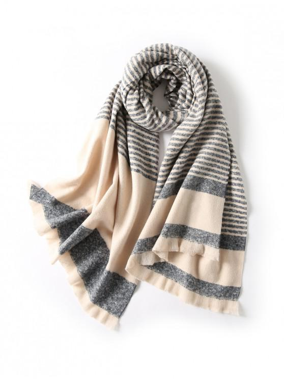 hot Striped Fringed Knitted Long Scarf - CADETBLUE