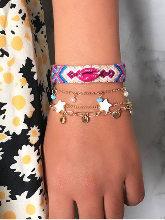affordable 4Pcs Bohemian Shell Braid Star Bracelet Set - GOLD