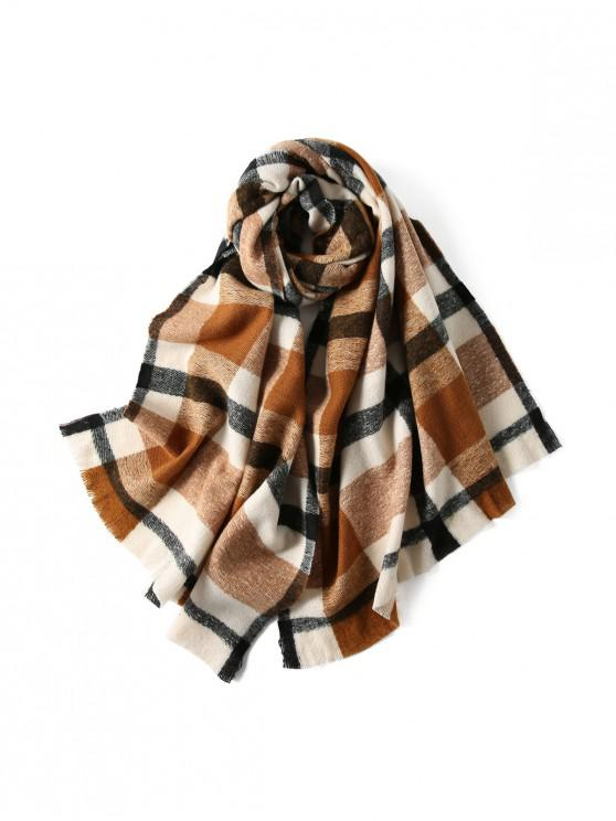 buy Plaid Winter Knitted Long Scarf - CARAMEL