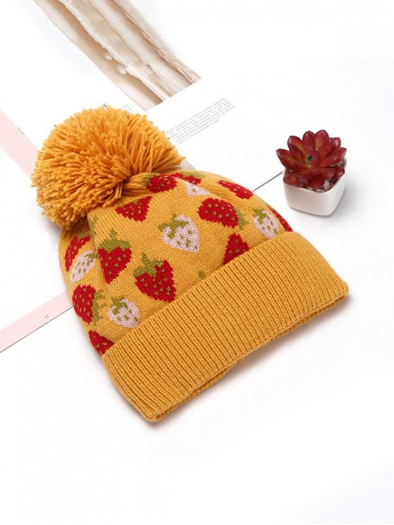 shop Winter Strawberry Pattern Knitted Woolen Hat - YELLOW