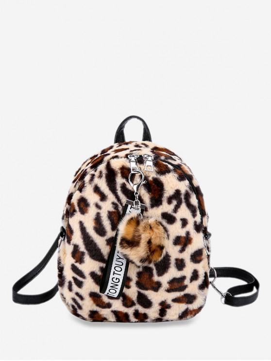 sale Fuzzy Ball Leopard Pattern Backpack - BEIGE