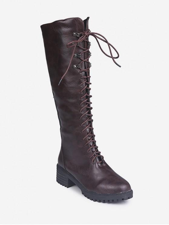 平台矮胖鞋跟膝蓋高的騎士靴 - 棕色 歐盟37
