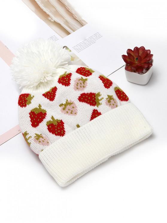 shop Winter Strawberry Pattern Knitted Woolen Hat - WHITE