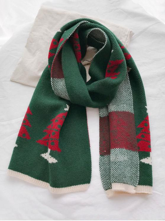 womens Christmas Pattern Contrast Trim Scarf - GREEN