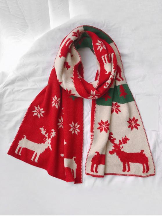 new Christmas Elk Snowflake Scarf - RED