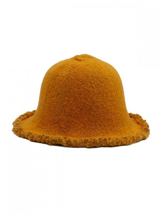 Mendigo invierno Estilo de lana del sombrero del cubo - Amarillo