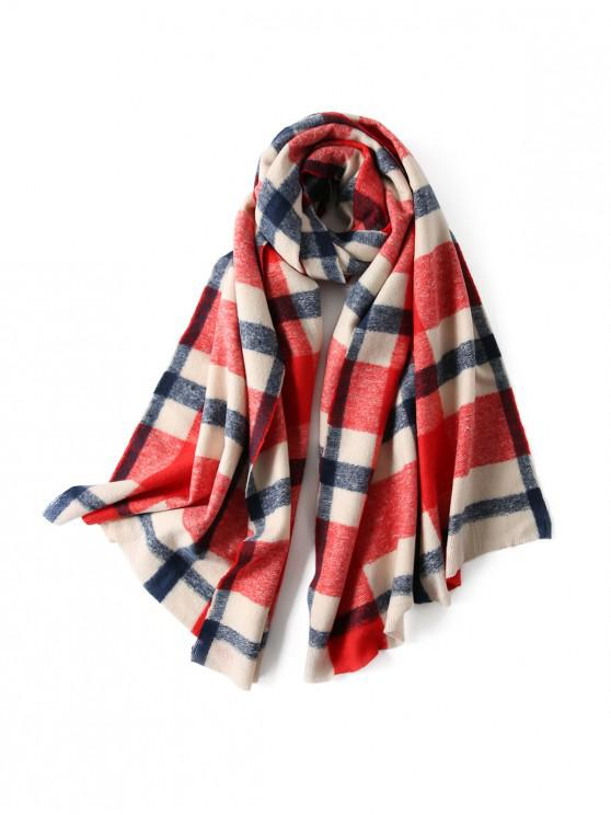 chic Plaid Winter Knitted Long Scarf - RED