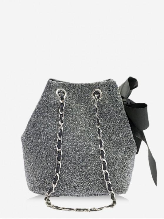 Bolso de la cinta del Bowknot del cordón Mini Cubo - Nube Gris