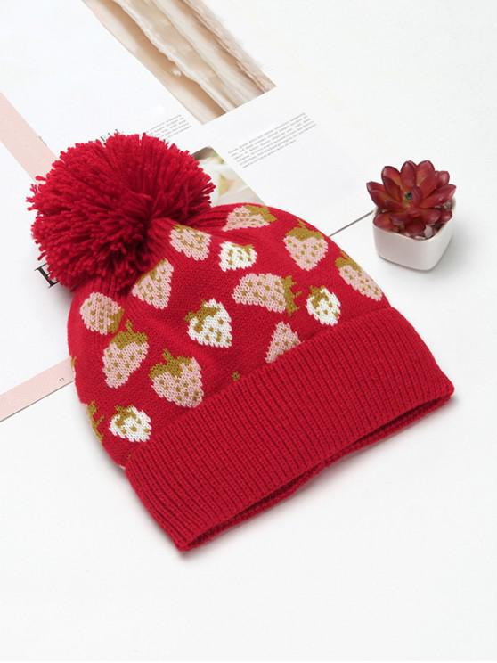buy Winter Strawberry Pattern Knitted Woolen Hat - RED