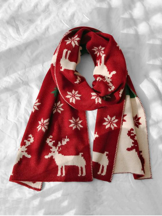 unique Christmas Elk Snowflake Scarf - RED WINE