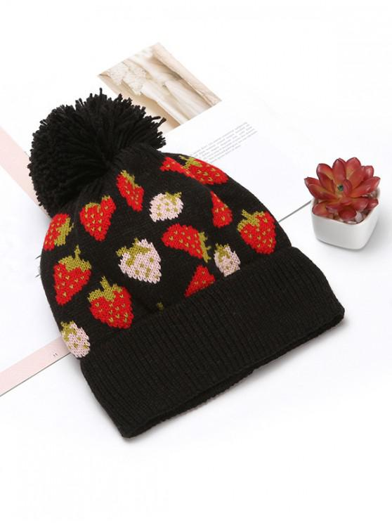 womens Winter Strawberry Pattern Knitted Woolen Hat - BLACK