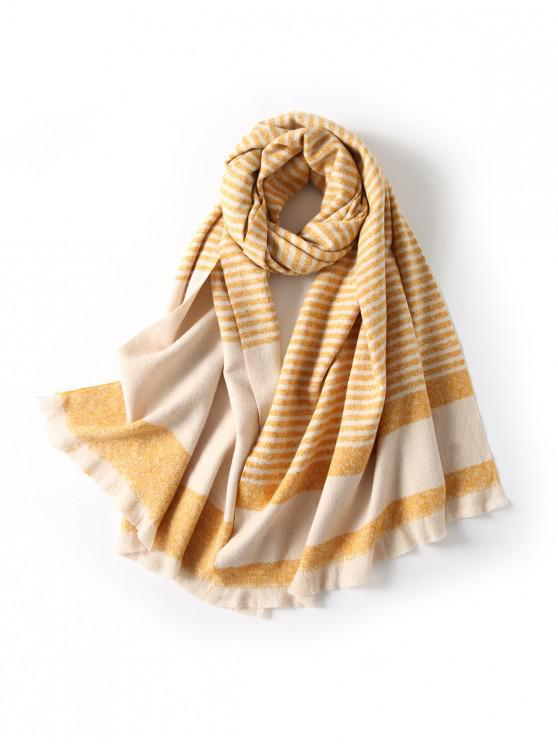 ladies Striped Fringed Knitted Long Scarf - YELLOW