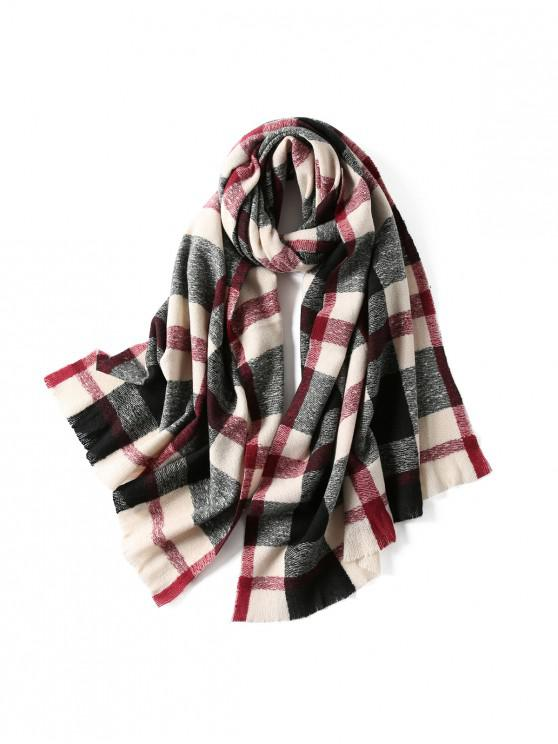 outfits Plaid Winter Knitted Long Scarf - BLACK
