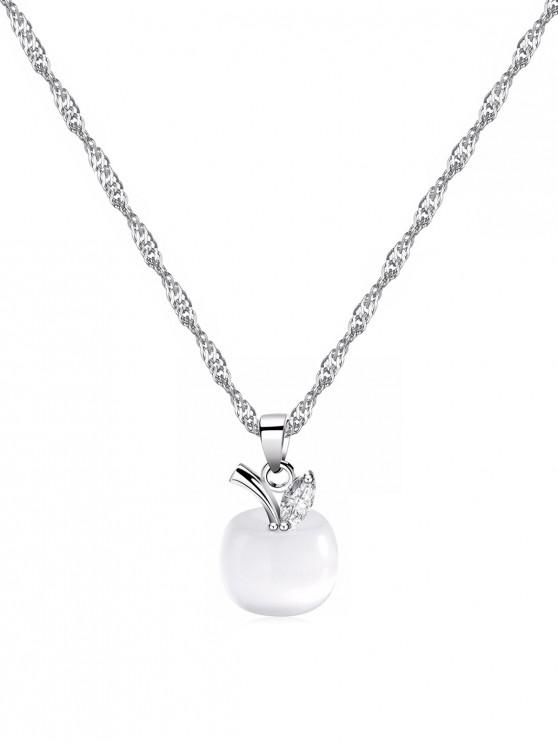 fancy Christmas Eve Apple Shape Pendant Necklace - SILVER