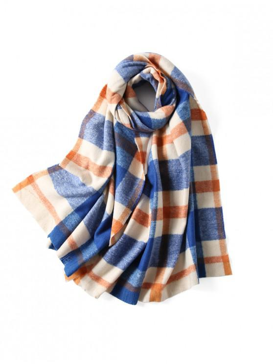 unique Plaid Winter Knitted Long Scarf - BLUE