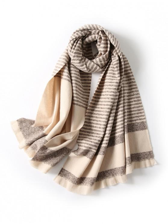 women Striped Fringed Knitted Long Scarf - COFFEE