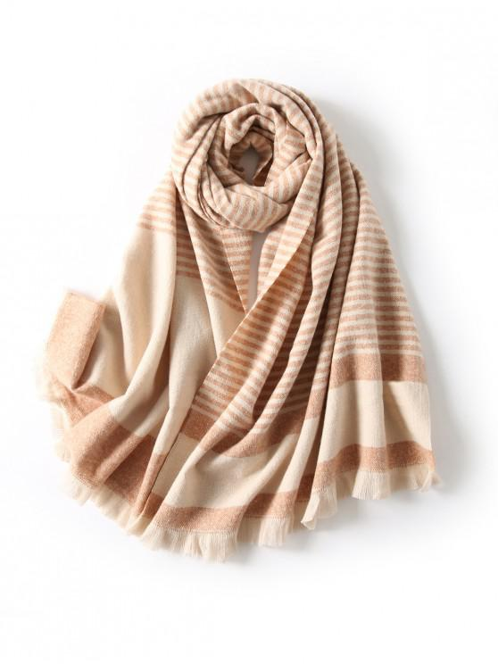 affordable Striped Fringed Knitted Long Scarf - KHAKI
