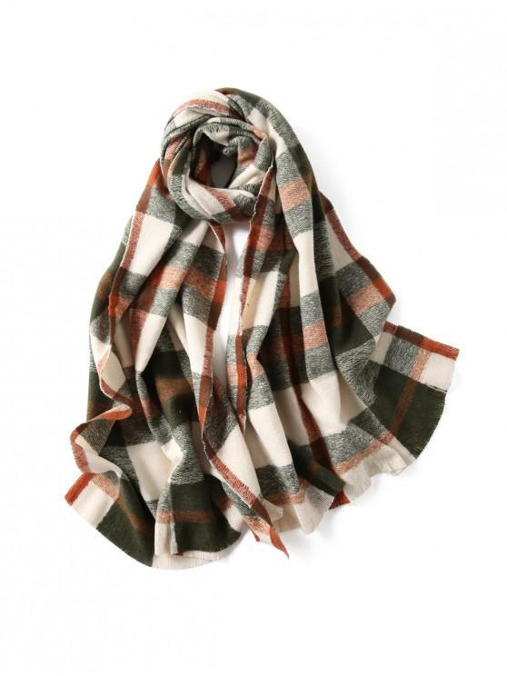 hot Plaid Winter Knitted Long Scarf - GREENISH BLUE