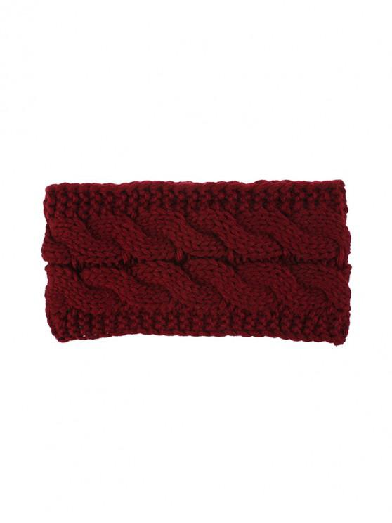 outfit Knitted Braid Fleece Wide Headband - RED WINE
