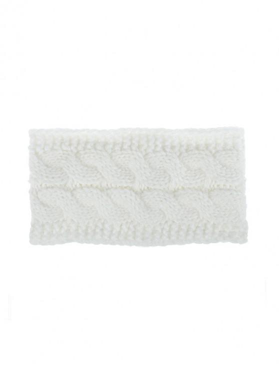 new Knitted Braid Fleece Wide Headband - WHITE
