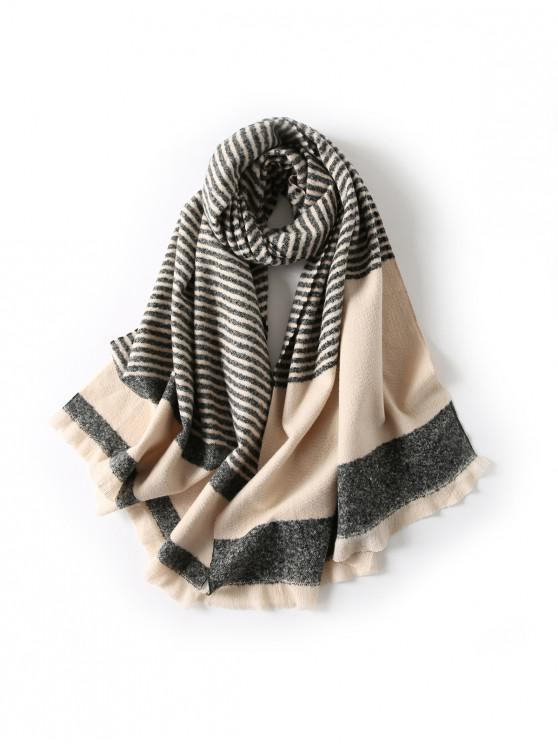 affordable Striped Fringed Knitted Long Scarf - BLACK