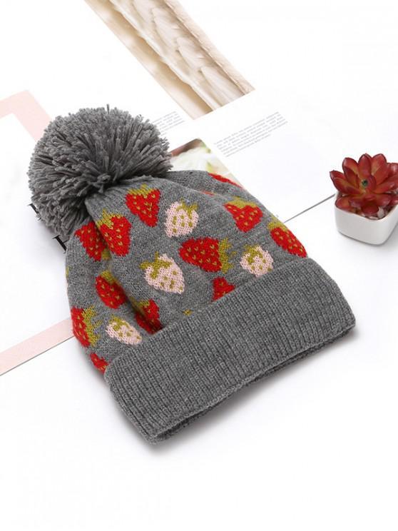shops Winter Strawberry Pattern Knitted Woolen Hat - GRAY