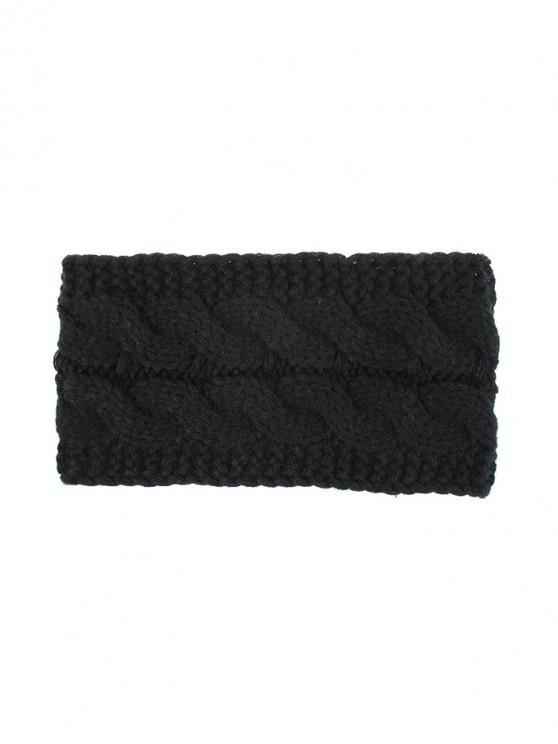 buy Knitted Braid Fleece Wide Headband - BLACK