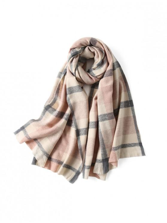 shop Plaid Winter Knitted Long Scarf - PINK