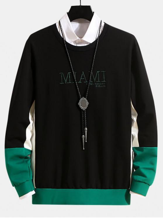 Carta bordado en color empalmado con capucha - Negro M