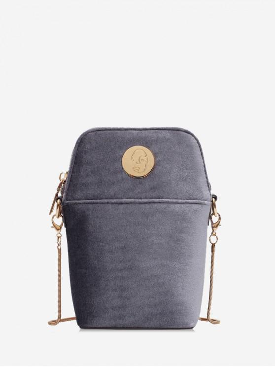 trendy Chain Mini Solid Shoulder Bag - BATTLESHIP GRAY