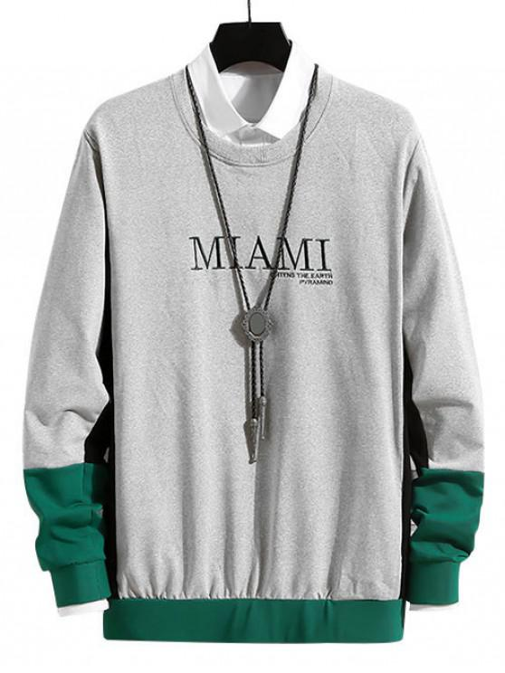 fancy Letter Embroidered Color Spliced Sweatshirt - GRAY XS