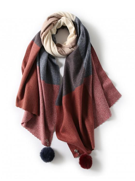 fashion Fuzzy Ball Plaid Herringbone Long Scarf - RED WINE