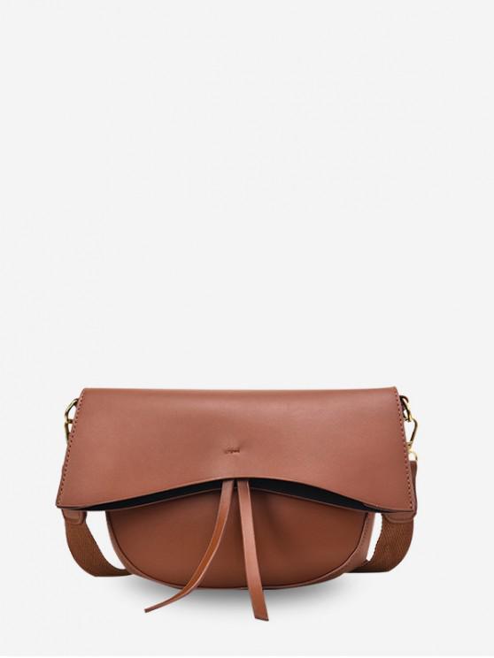 fancy Solid Simple Tassel Single Shoulder Crossbody Bag - LIGHT BROWN