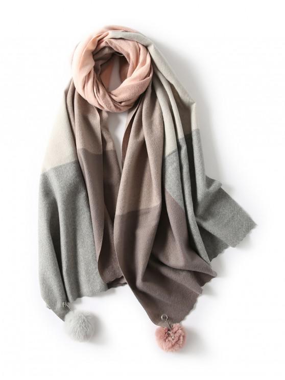 Difusa bola de la tela escocesa de la bufanda larga espiga - Rosado