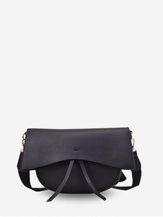 lady Solid Simple Tassel Single Shoulder Crossbody Bag - BLACK