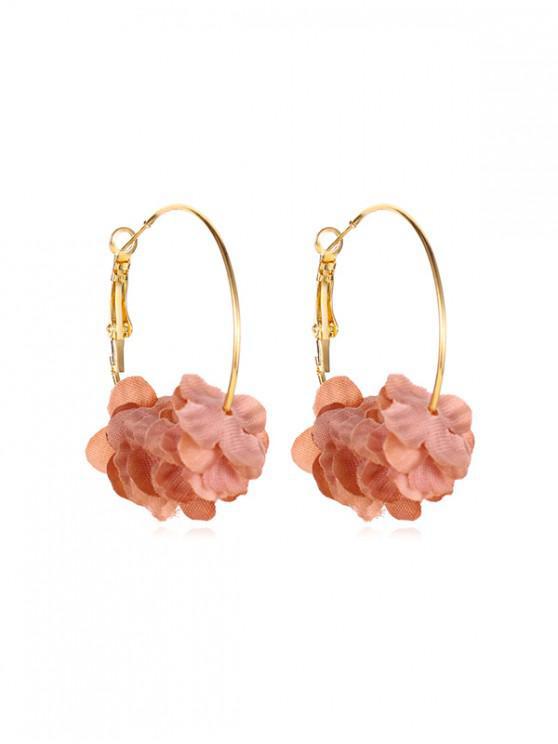 best Sweet Layered Floral Hoop Earrings - LIGHT PINK
