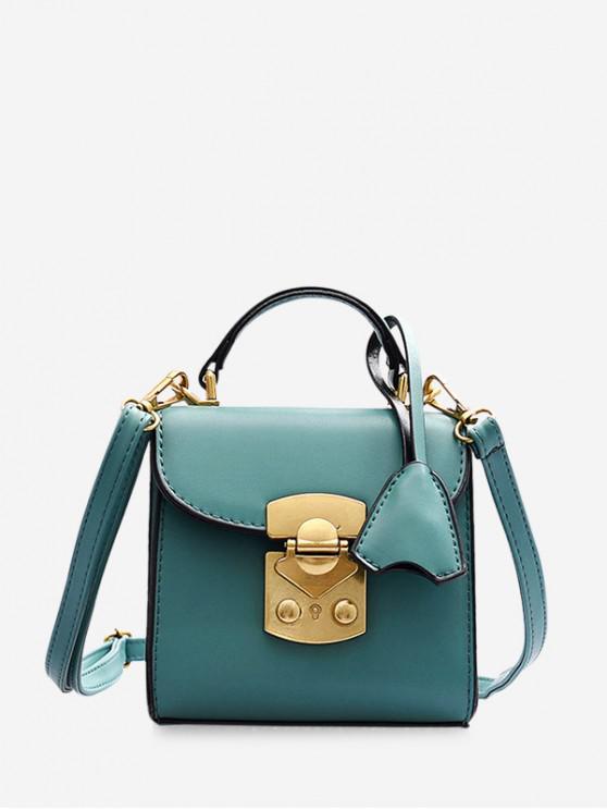 online Metal Buckle Mini Top Handle Crossbody Bag - MACAW BLUE GREEN