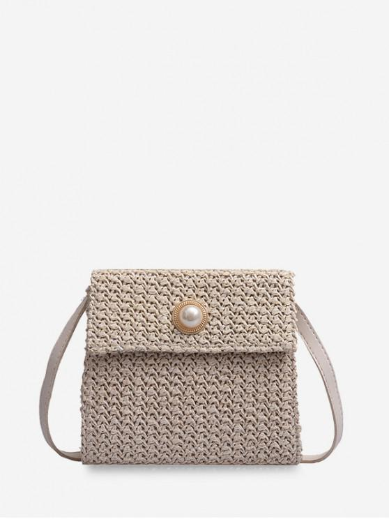 hot Faux Pearl Woven Straw Crossbody Bag - WARM WHITE