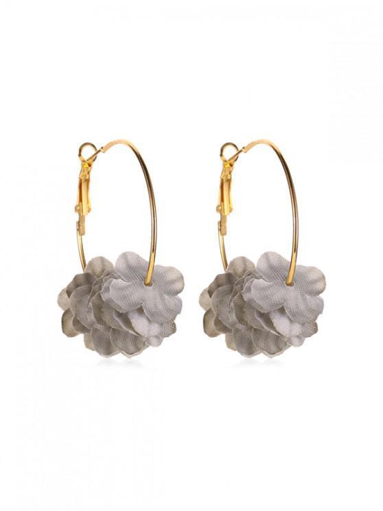 buy Sweet Layered Floral Hoop Earrings - GRAY