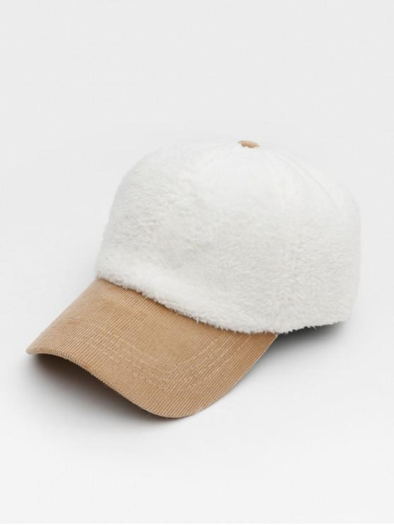 ฤดูหนาวผ้าหนังนิ่มเบสบอลหมวก - ขาว