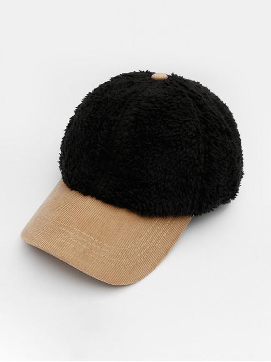 ladies Winter Suede Fabric Baseball Hat - BLACK