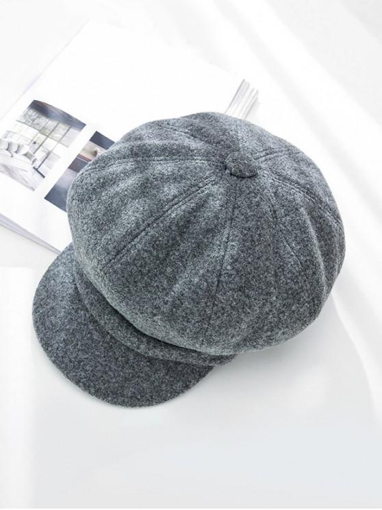 Sólido de pico de invierno octogonal sombrero de la boina - Gris
