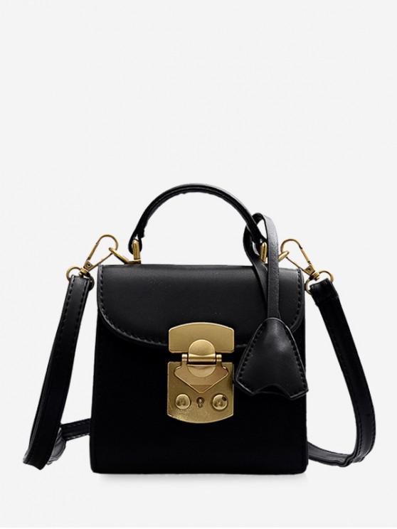 best Metal Buckle Mini Top Handle Crossbody Bag - BLACK