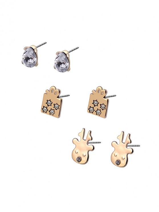 聖誕節3件鹿禮品水鑽耳釘套裝 - 金