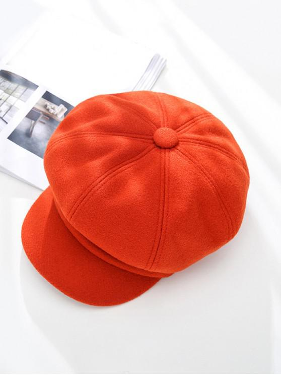 shops Peaked Solid Winter Octagonal Beret Hat - RED