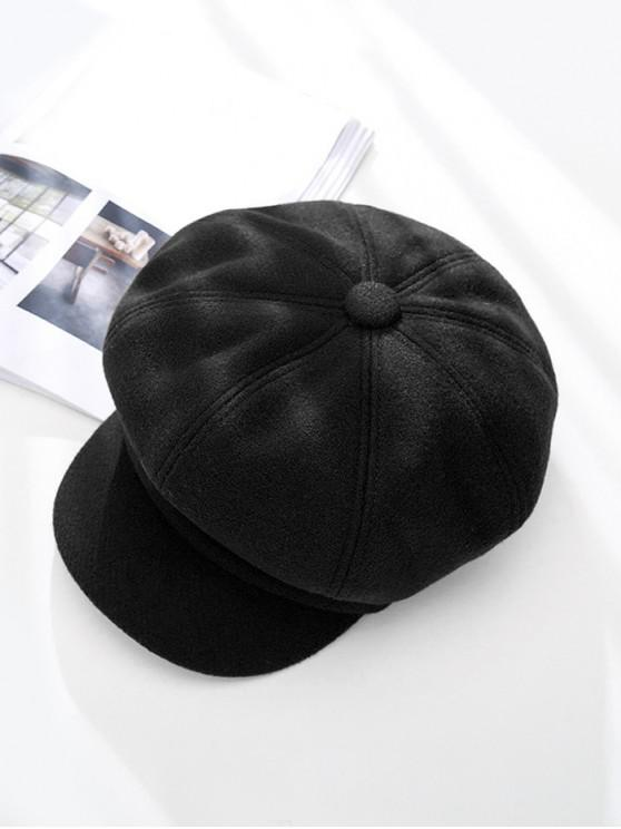 unique Peaked Solid Winter Octagonal Beret Hat - BLACK