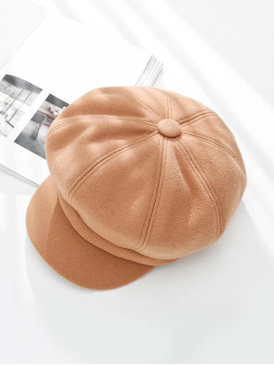Sólido de pico de invierno octogonal sombrero de la boina - Caqui